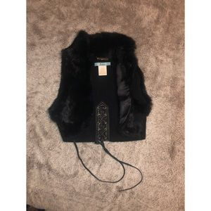 GUESS / Marciano : black fur cropped vest Jacket